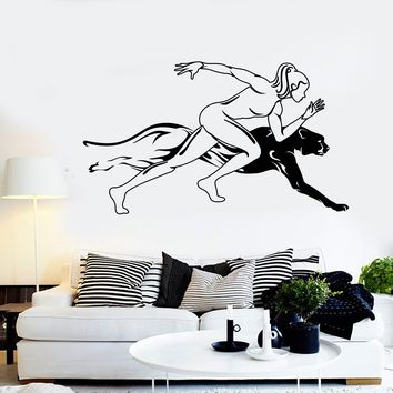 Vinyl Wall Decal Runner Girl Sports Woman Jaguar Speed Run Stickers Unique Gift (1660ig)