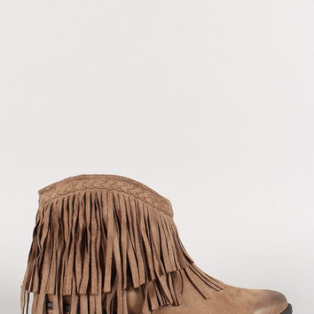 Taupe Fringe Flat Booties
