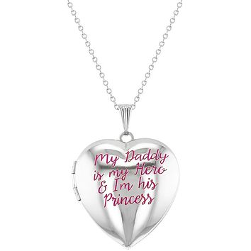 """My Hero Daddy's Princess Pink Photo Pendant Necklace Heart Locket for Girls 16"""""""