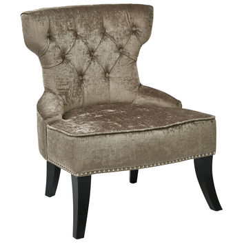 Office Star Colton Vintage Style Button Tufted Velvet Chair with Nailhead Detail and Spring Seat in Brilliance Otter fabric [CLT-B47]