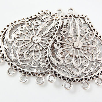 2 Large Exotic Filigree Chandelier Earring Component Pendant - 5 Loops Rings - Matte Silver Plated