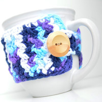 Cotton Coffee Mug Cozy, Blue Ombre, Crocheted Mug Cozy, Cup Sleeve