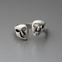 Comedy and Tragedy Mask, Sock and Buskin,  Thalia and Melpomene Greek Theatre Adjustable Rings Jewelry Wrap Ring