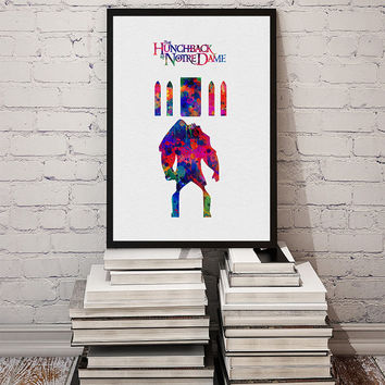 The Hunchback of Notre Dame Illustration inspired by Disney Movie Fine Art Print, Wall Art Hanging Home Decor
