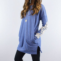 Lace Sleeve  Casual Long Shirt With Pocket