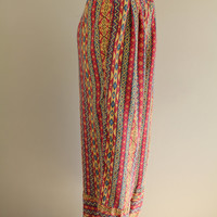 Vintage - Ethnic Ikat - Moroccan Print - Tribal - Striped - Pleated - High Waist - Harem Pants