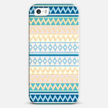 Glitter Ethnic Chevron in Gold and Teal iPhone 5s case by Nika Martinez | Casetify
