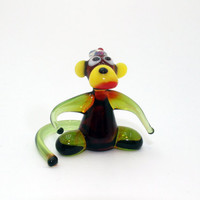 Glass Monkey cap Figurine Ape Figurine Glass Figure miniature glass lampwork glass monkey sculpture monkey figurine new year gift(016)