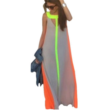 Summer Maxi Dress Sexy Women Lady Casual Bohemian Sleeveless Patchwork Hollow Party Beach Loose Long Dress Plus Size Vestidos