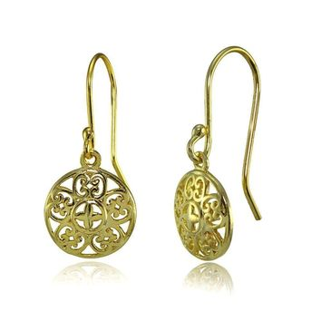 Round Vintage Filigree Dangle Earrings in Gold Plated Sterling Silver