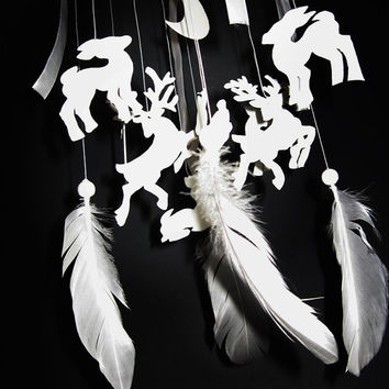 Dreamcatcher, Nursery Mobile white, woodland dream catcher, deer, moon, white feathers, hanging, for baby