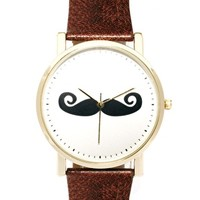 ASOS Moustache Face Watch - Brown
