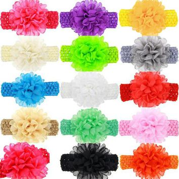 PARRY Drop ship girls hairband hair accessories Baby Kids Girls Chiffon Flower Hairband Headband Dress Up Head Band Feb7 S50