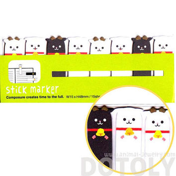 Adorable Black and White Sheep Lamb Goat Shaped Peep Out Memo Post-it Sticky Tabs from Japan | Cute Affordable Animal Themed Stationery