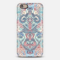 Botanical Geometry - nature pattern in red, blue & cream iPhone 6 case by Micklyn Le Feuvre | Casetify