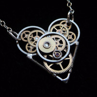 Clockwork Heart Necklace Tiny Heart by amechanicalmind