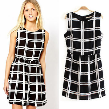 Black & White Plaid Sleeveless Dress