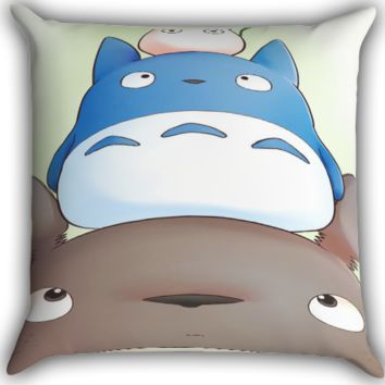 Totoro Zippered Pillows  Covers 16x16, 18x18, 20x20 Inches
