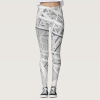 Grey and white abstract pattern leggings