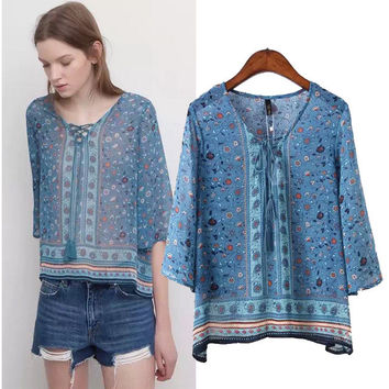 Stylish V-neck Three-quarter Sleeve Print Chiffon Women's Fashion Tops Shirt [5013336324]