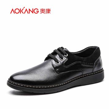 Aokang 2016 New Men's leather shoes Fashion male Dress Shoes Business casual round toe Shoes office men dress shoes