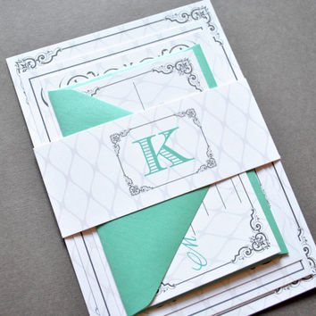 Tiffany Blue Wedding Invitations, Monogram Wedding Invitations, Belly Band, Mint Green, Grey, Gray, Tiffany Blue