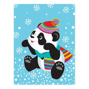 cartoon panda postcard