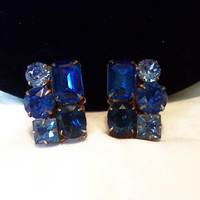 Czech Couture Blue Glass Rhinestone Geometric Gold Plate Vintage Fashion Earrings 1970's