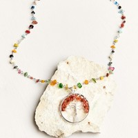 Rainbow Genuine Stone Tree of Life Necklace