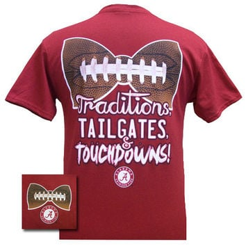 New Alabama Crimson Tide Traditions Football Bow Bright T Shirt
