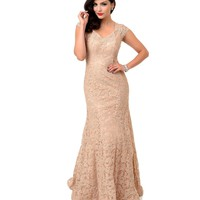1930s Style Mocha Cap Sleeve Lace Open Back Gown