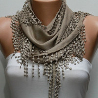 ON SALE - Beige Scarf Pashmina Scarf - Cotton Scarf -Women's Fashion- Cowl with Lace Edge - fatwoman
