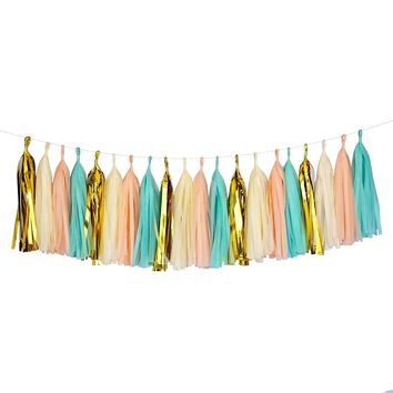 Mint Peach Gold Ivory White Tassel Garland Banner Party Decoration Wedding