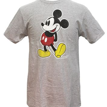Mickey Mouse Arms Behind Back Vintage Distressed Graphics Mens T-shirt