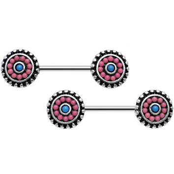 "14 Gauge 9/16"" Pink and Blue Floral Mandala Barbell Nipple Ring Set"