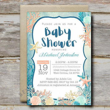 Under the Sea Party Invitation Printable, Nautical Beach Seashells Theme Baby Shower Birthday Party, 4x6 Sea Mermaid Party, Coral Mint Gold