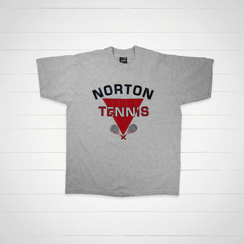 90s Vintage T-Shirt / Norton Tennis tee by Screen Stars  / Made in USA