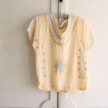 embroidered gold ethnic tunic caftan top . moroccan cotton gauze with metallic gold