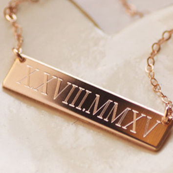 filled wedding link i date roman necklace numeral personalized rectangle bar anniversary gold pendant