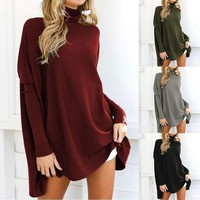 Women Sweaters Winter Turtleneck Long Sleeve Oversized Pullover Solid Casual