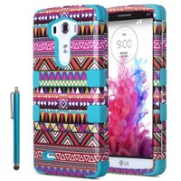 ULAK Hybrid 3 Layer Hard PC Case Silicone Soft Case Protective Cover for LG G3 D850 D851 (Tribal-Pink/Blue)