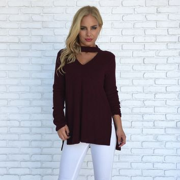 Soft & Simple Sweater Top in Plum