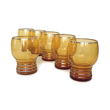 Set of Mid Century Glasses - Amber Drinking Glasses - Gold Rim and Bands - Set of 5 + 1 - Vintage Barware - Juice Glasses