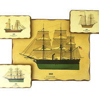 Vintage Sailing Ships Wall Art Collection / Oceanic Boating Plaques / Set of 4 / Instant Collection / Nautical Office, Study, Library Art