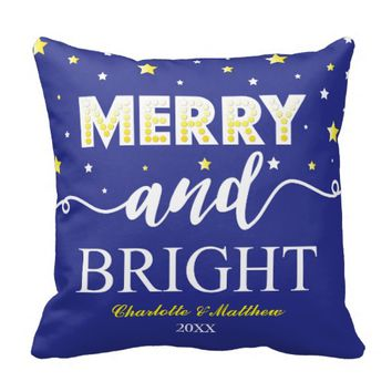 MERRY & BRIGHT BLUE PILLOW | MODERN CHRISTMAS