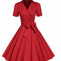 Red Wrap Vintage Dress