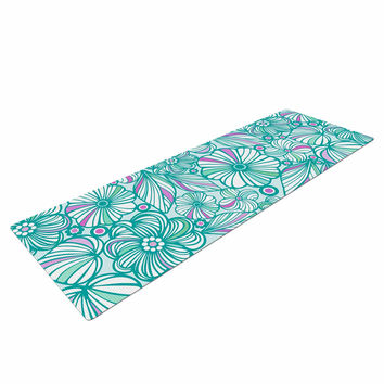 """Julia Grifol """"My Turquoise Flowers"""" Teal Pink Yoga Mat"""