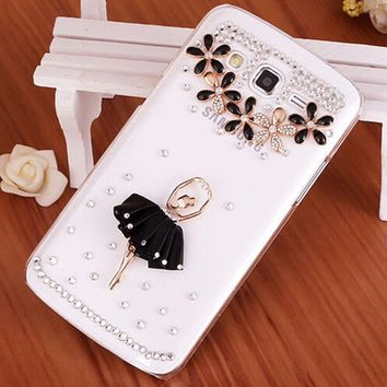 Luxury 3D Ballet Girl bling Crystal diamond Mobile phone Shell Skin Back Cover PC Hard Case For Samsung Galaxy J2 SM-J200F case