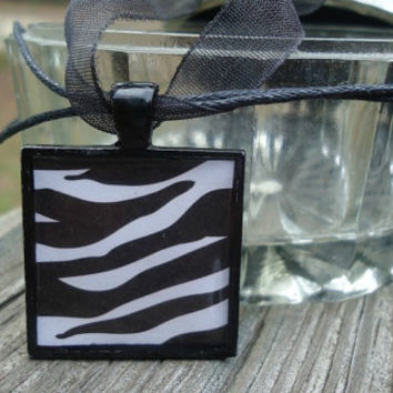 Zebra Print, Animal Print, Sassy Square pendant necklace