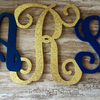 Wood Monogram Painted Glitter Glittered Custom Hand Painted Sparkle Wooden Teen Room Decor Wood Vine Script Wall Monogram Dorm Room Decor